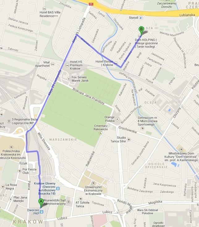 Mapa Krakowa z zaznaczonym Dworcem Głównym i trasą z tego miejsca do krakowskiego biura Kolpinga.
