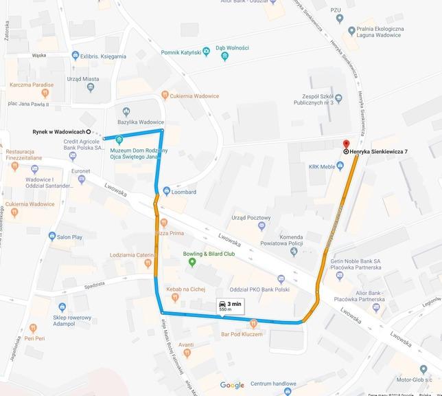 Mapa Wadowic z zaznaczonym Rynkiem Głównym i trasą z tego miejsca do wadowickiego biura Kolpinga.